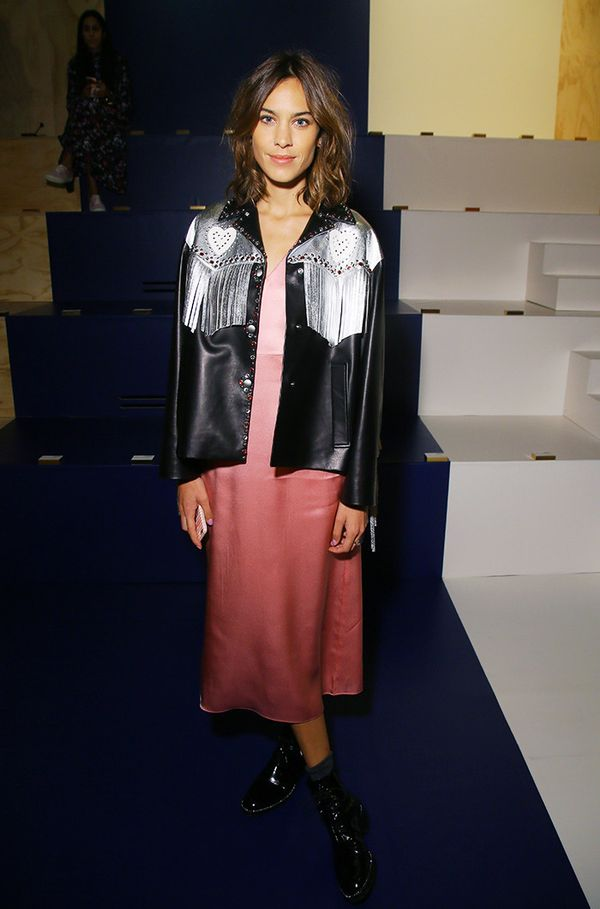 WHO: Alexa Chung  WHAT: Miu Miu S/S17 show WEAR: Miu Miu jacket.
