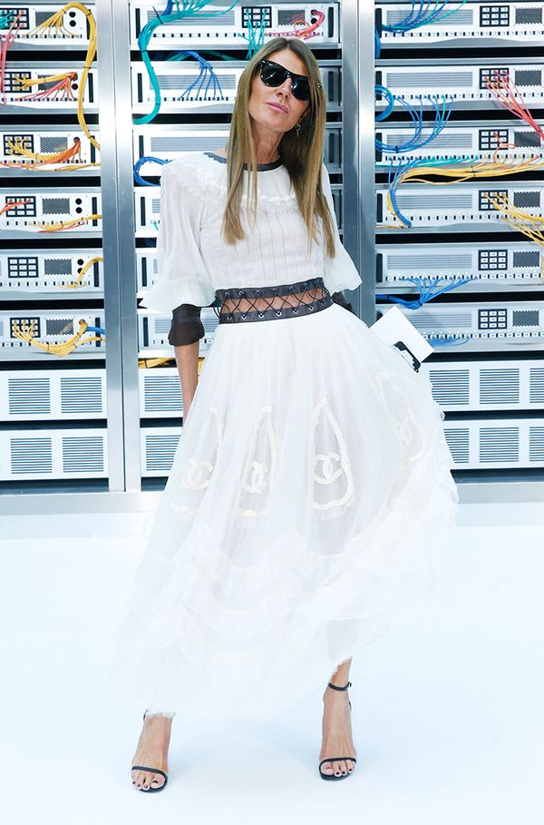 WHO: Anna Dello Russo WHAT: Chanel S/S17 show WEAR: Chanel dress.