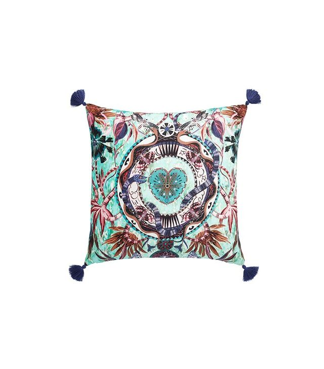 CB2 Peacock Hearts Pillow