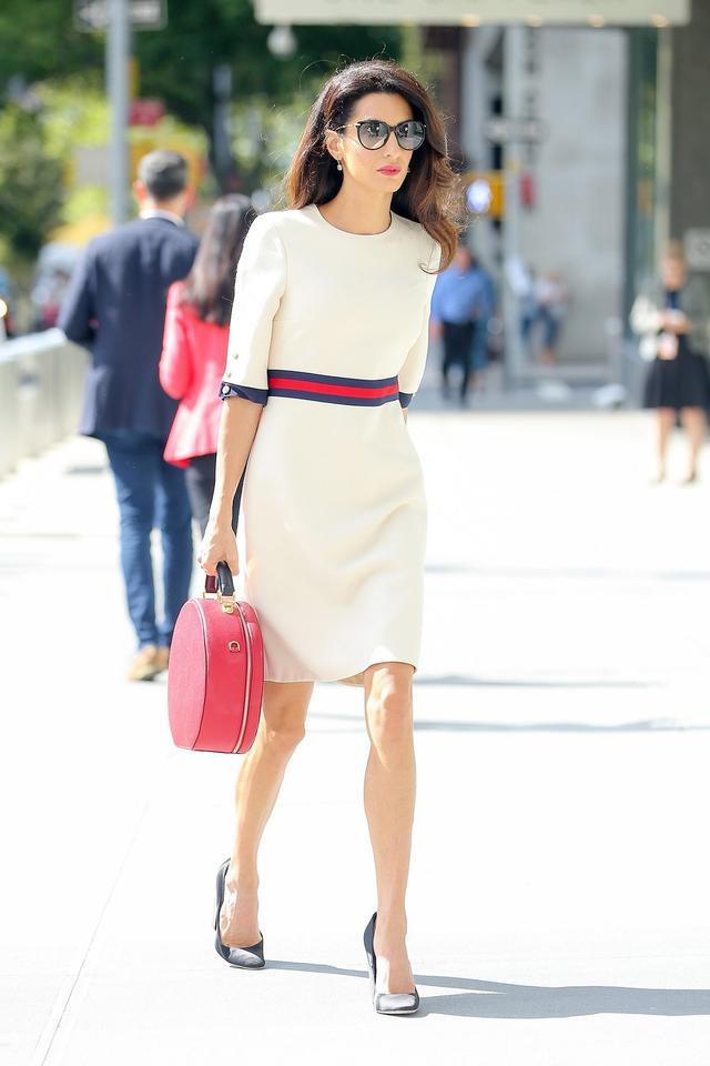 Amal Clooney NYFW UN Meeting Dolce & Gabbana Anna Bag