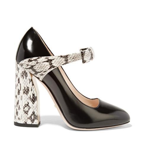 Bow-Embellished Elaphe and Leather Pump
