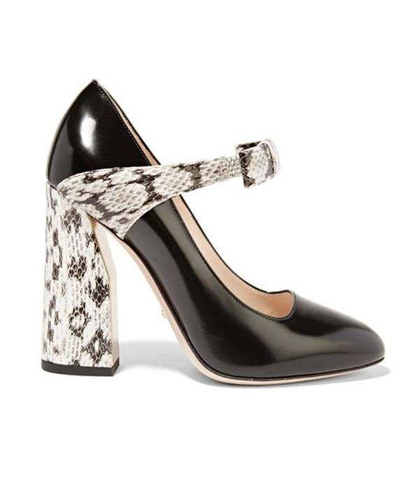 Gucci Bow-Embellished Elaphe and Leather Pump