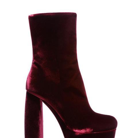 Leather-Trimmed Velvet Ankle Boots