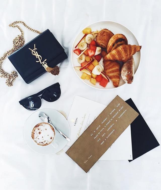 YSL bag and coffee