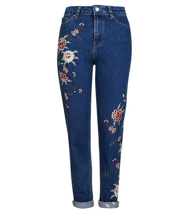 Topshop Moto Dark Blue Embroidered Mom Jeans