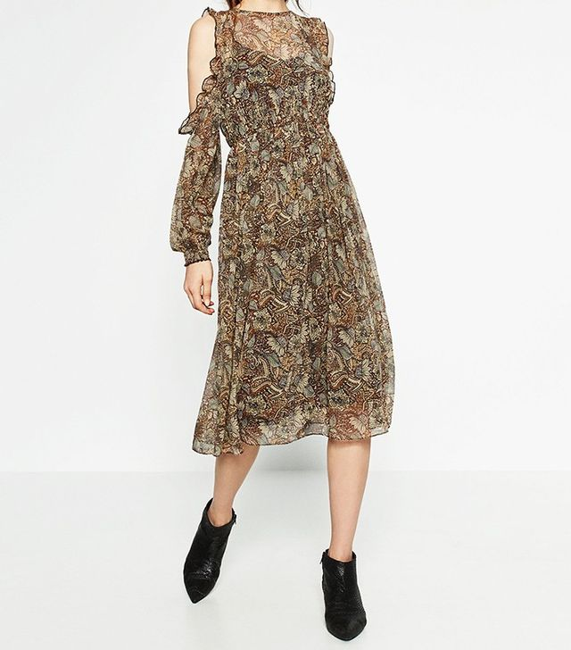 Zara Mid-Length Printed Dress