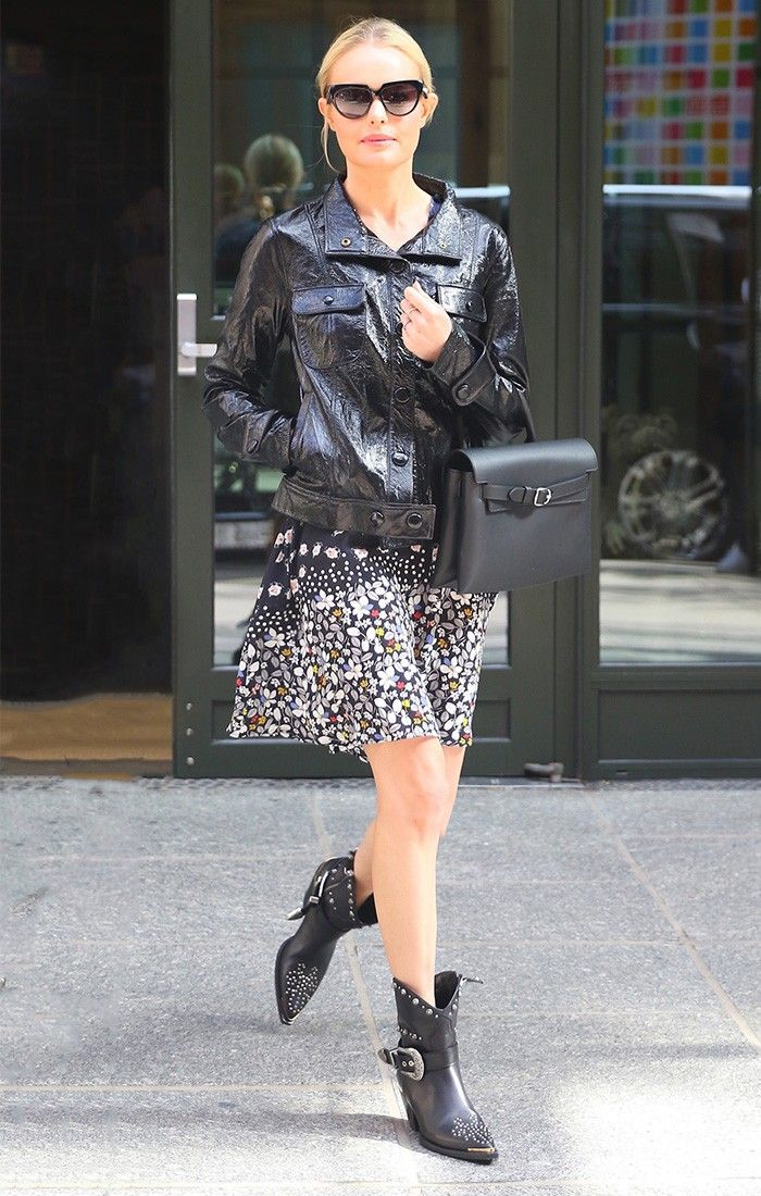 Kate Bosworth wearing a leather jacket and dress.
