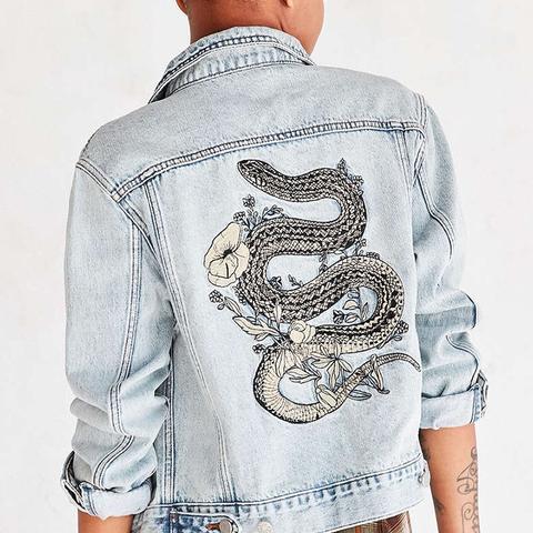 Embroidered Denim Trucker Jacket