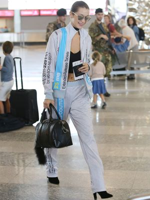 Bella Hadid Goes for the Lingerie Trend at the Milan Airport