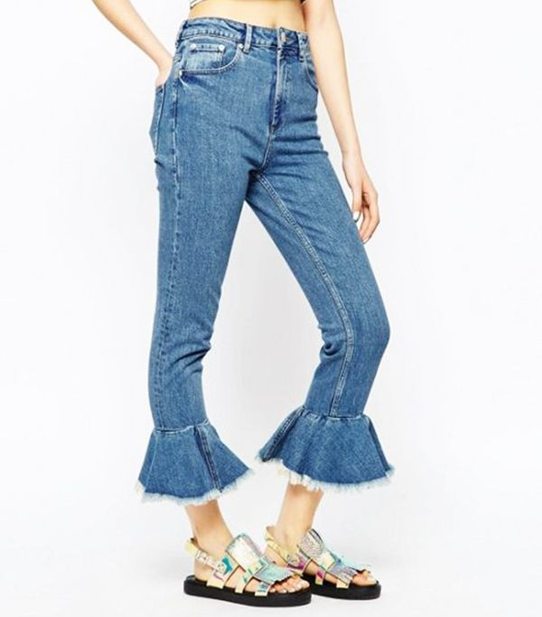 ASOS Farleigh High Waist Slim Mom Jeans with Flare Frill Hem