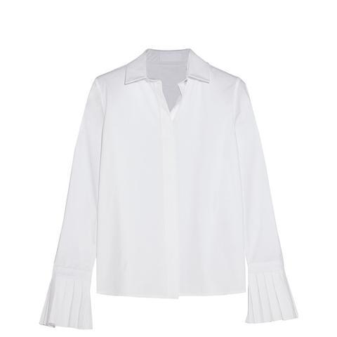Pleated Cotton-Poplin Shirt