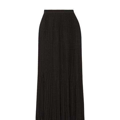 Laire Pleated Crepe Midi Skirt