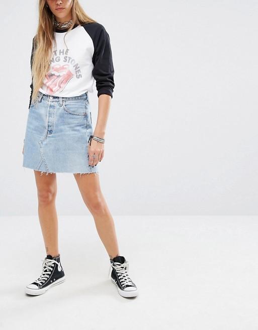 ASOS Reclaimed Vintage Raw Hem Denim Skirt