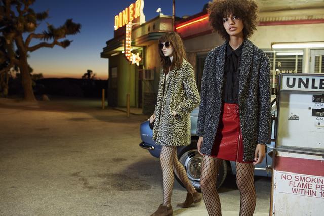 Mango Leopard Faux-Fur Coat($130) and Flecked Wool-Blend Coat($80)