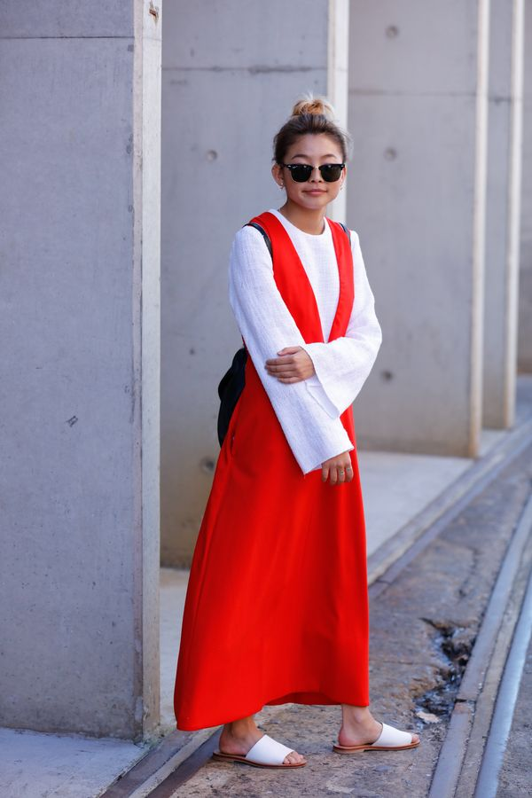 Day 4: Layer a maxi dress over a flared-sleeve top.