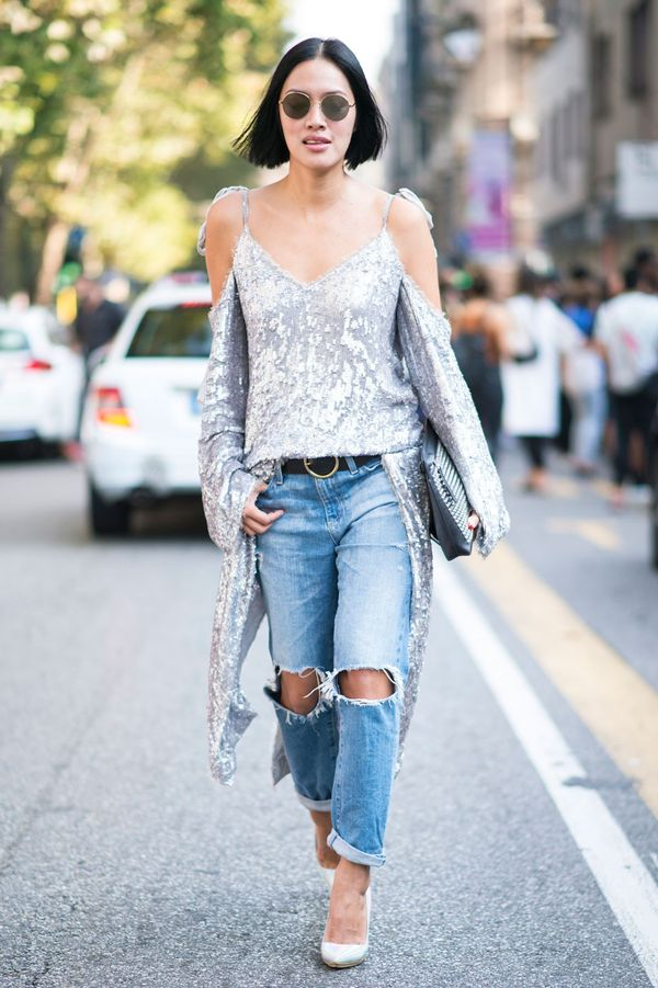 Day 7: Make sequins work for day and pair with classic jeans and a simple belt.