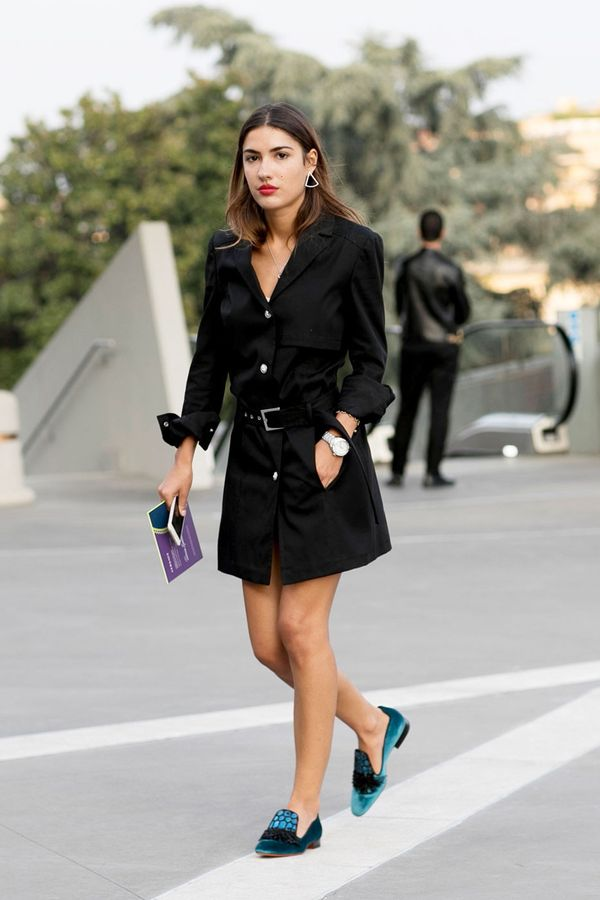 Day 9: Wear your short-trench coat as a mini dress.