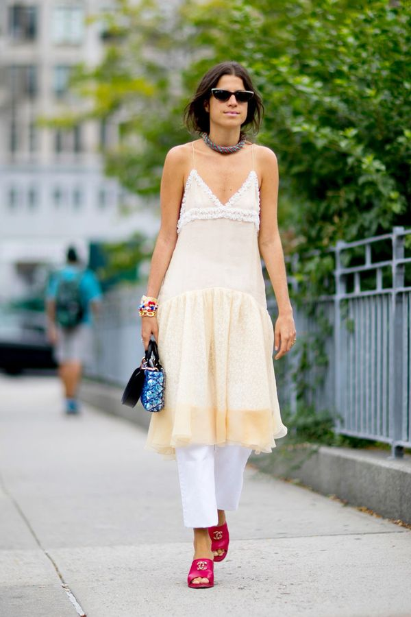 Day 16: Wear a slip dress over cropped slim pants.