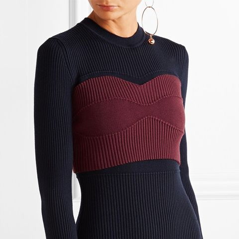 Cropped Ribbed Stretch-Wool Blend Top