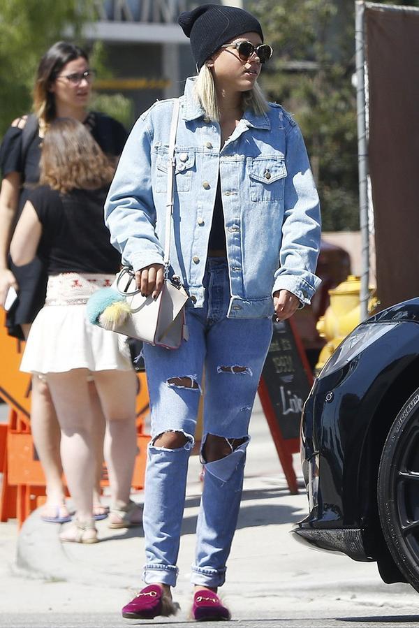 On Sofia Richie: Dior sunglasses;Enfants Riches Deprimes jacket; Fendi bag; Gucci Princetown Velvet Mules($850).