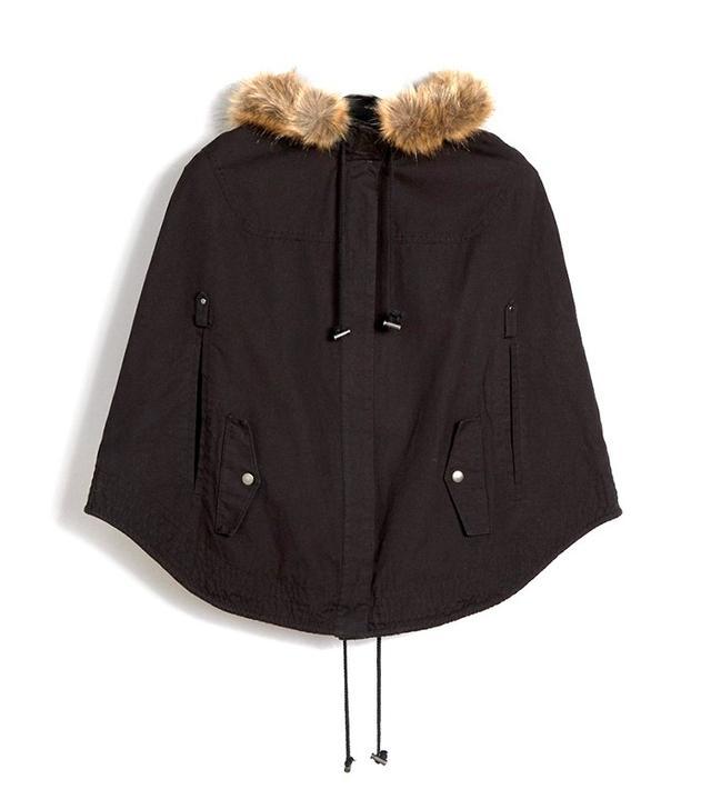 ASOS Parka Cape With Faux Fur Hood