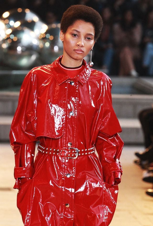 Labels got lacquered this season, with shiny things across the spectrum, including this cherry red patent leather coat from Isabel Marant.