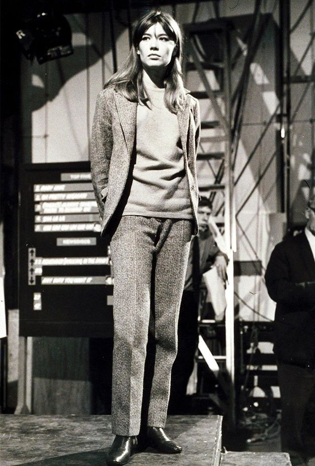 It really doesn't get much more chic than Françoise Hardy; this menswear-inspired ensemble is no exception.