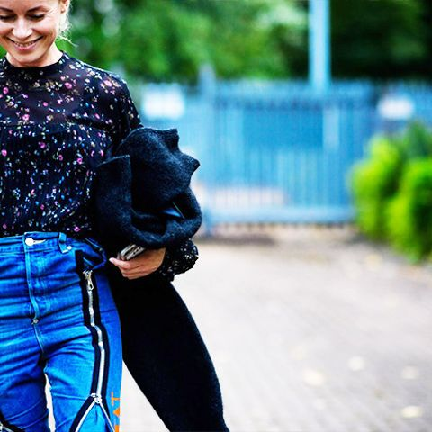 Statement denim is a great counterpart to floral blouses.