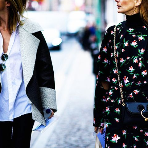 Layer a turtleneck underneath a floral dress this fall.