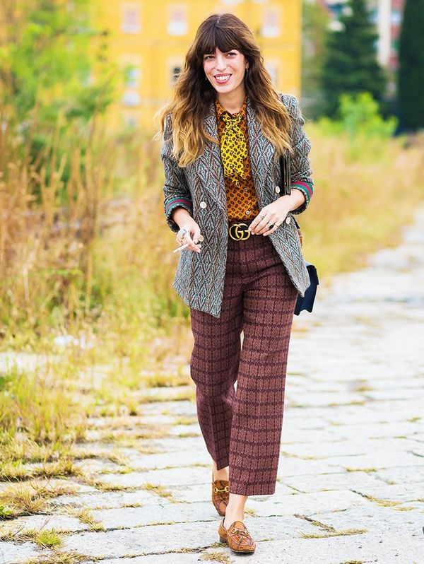 Style Notes: No retro getup is complete without a touch of this colour, as proven by Lou Doillon's natty Gucci scarf and shirt.