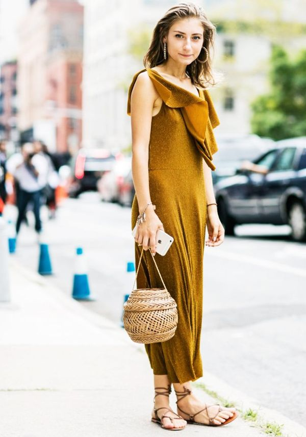 Style Notes: Go tonal like Jenny Walton and inject brown leather shoes, gold hoops and a wicker bag for good measure.