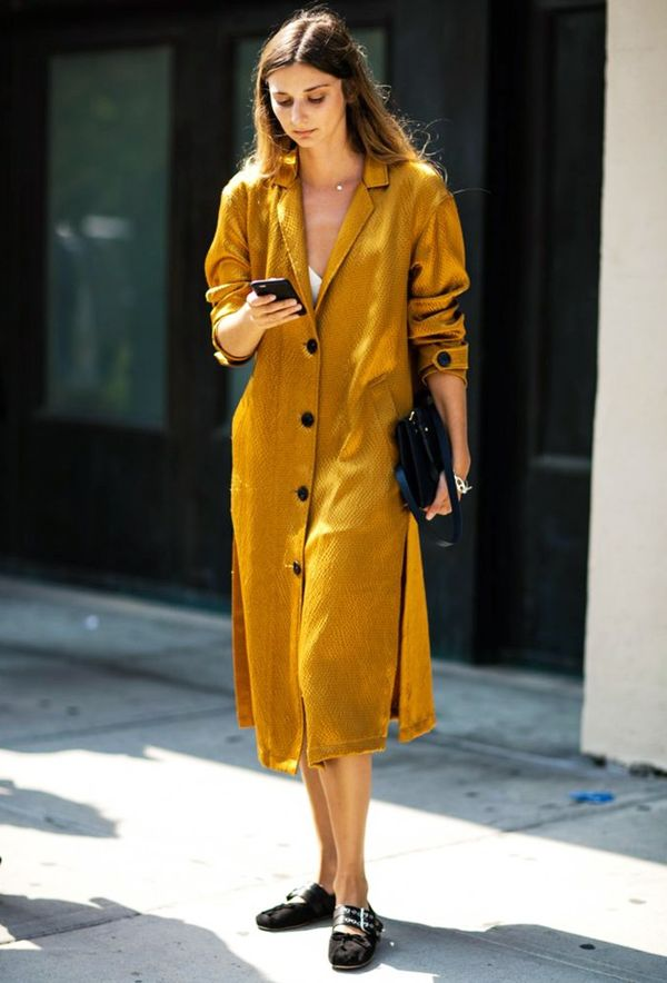 Style Notes: Let your mustard dress do all the talking, and keep your extras pared back and super simple.