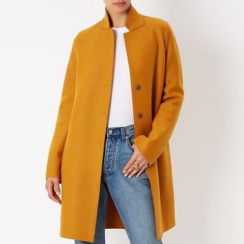 Mustard Single-Breasted Cocoon Coat