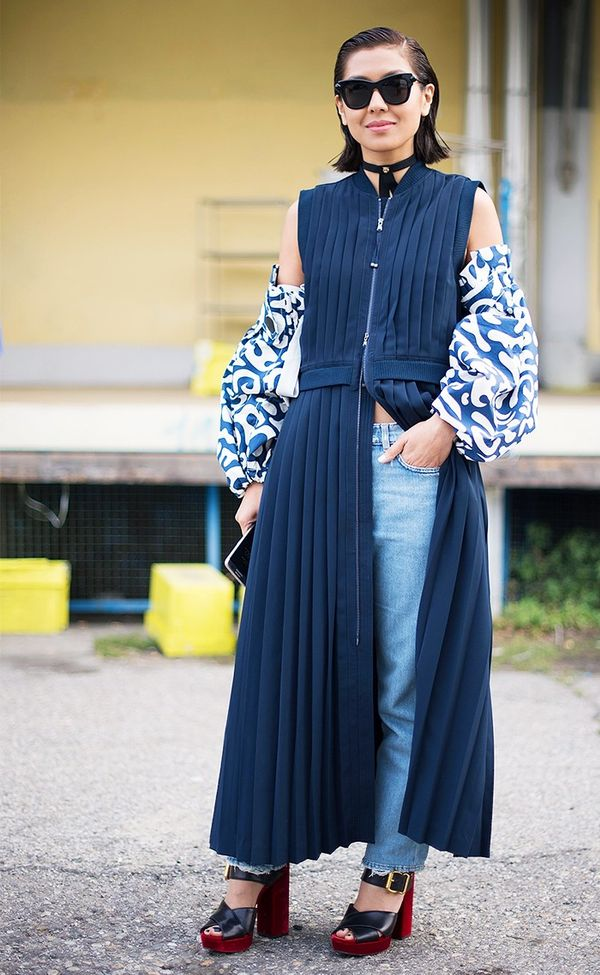 street style milan dress and pants.