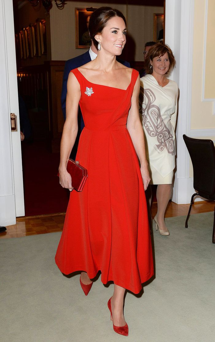 Kate Middleton Canada Royal Tour Preen by Thornton Bregazzi Finella Red Dress
