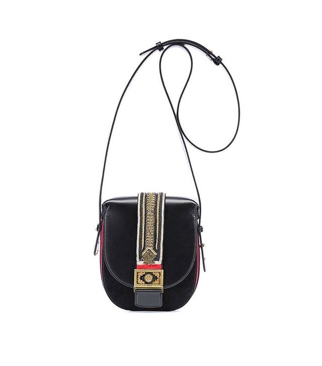 Etro Leather Crossbody Bag with Jacquard Details