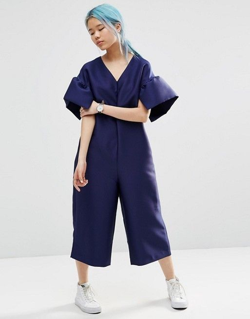 ASOS White Structured Jumpsuit With Frill Sleeve