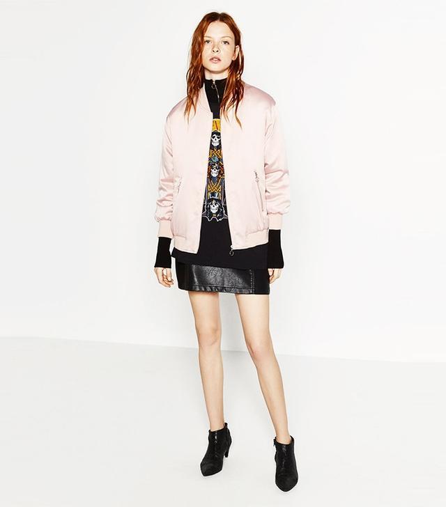Zara Glossy Oversized Bomber Jacket