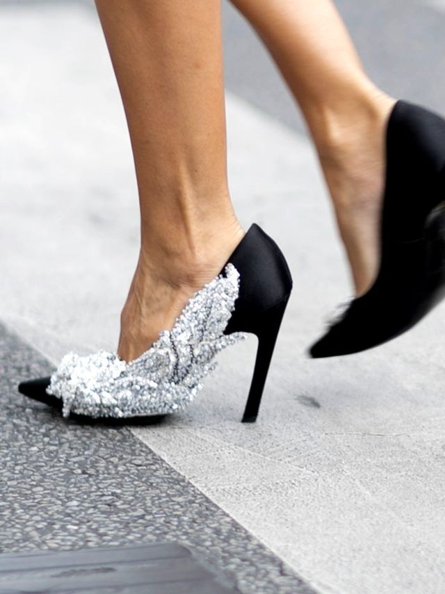 Christine Centenera at Paris Fashion Week wearing Balenciaga Heels
