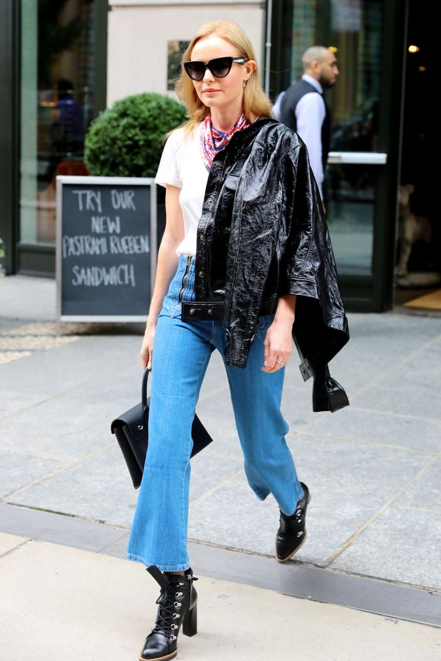 On Kate Bosworth: FrameLeather Crop Jacket($1331), Alexander Wang Attica Leather Shoulder Bag($1248). Kate Bosworth stepped out in New York City wearing a white T-shirt, jeans,...