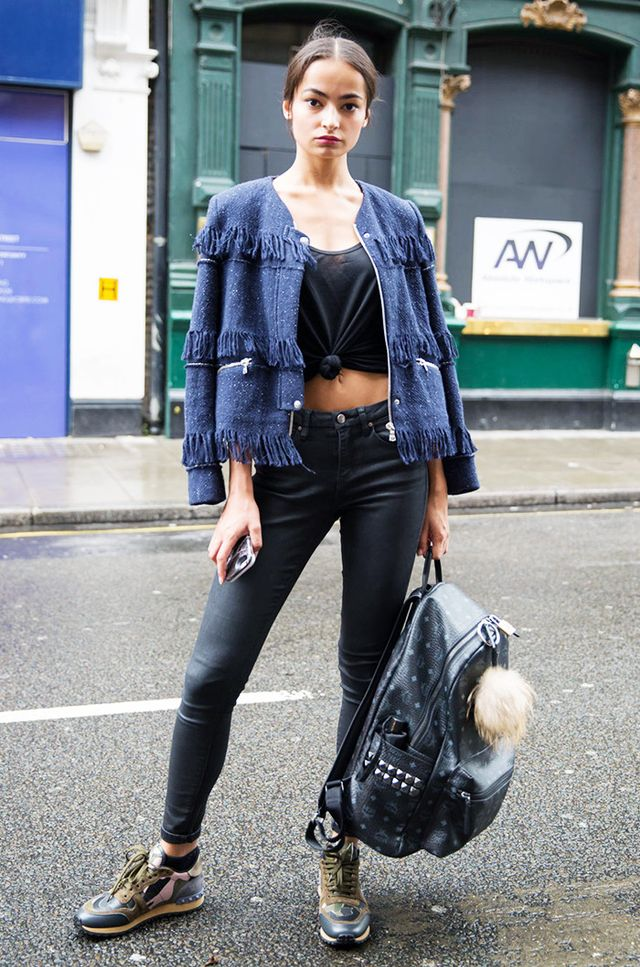 Finge Jacket + Crop Top + Dark Skinnies