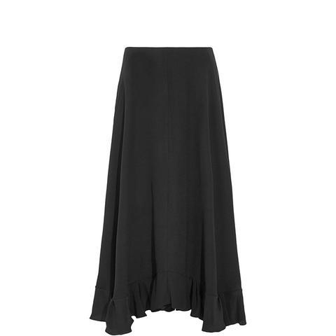 Ruffled Silk-Crepe Maxi Skirt