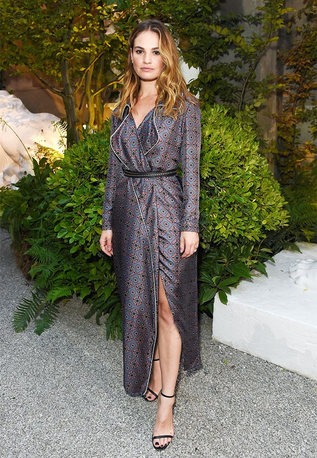 Lily James's pajama-inspired number in its subtle pattern is perfect for an autumn evening.