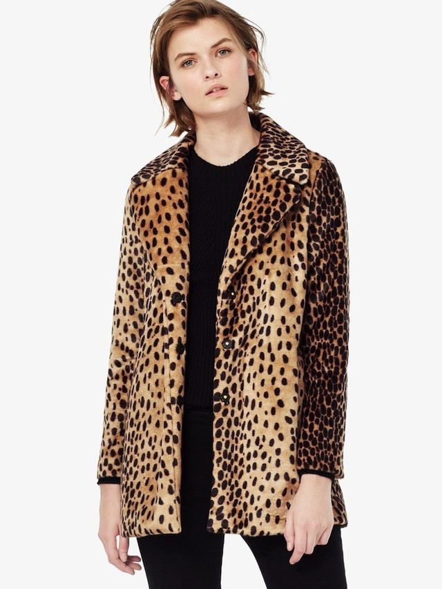 Mango Leopard Faux-Fur Coat