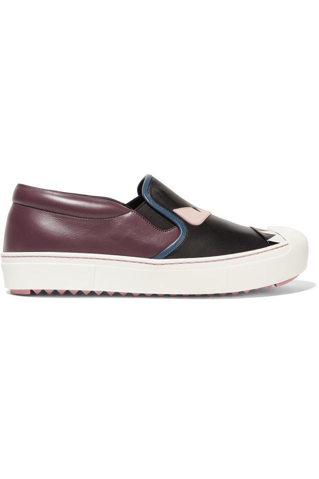 Fendi Bag Bug Leather Slip-On Sneakers