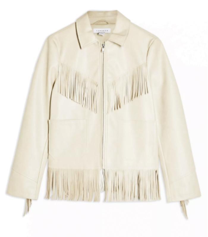 Topshop Ecru Faux Leather Fringe Jacket
