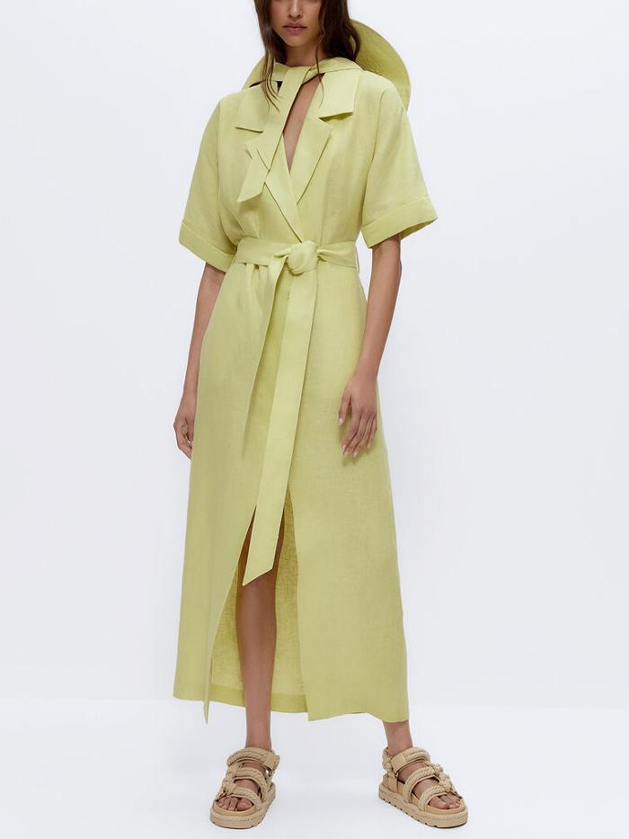 Uterque Linen Shirt Dress