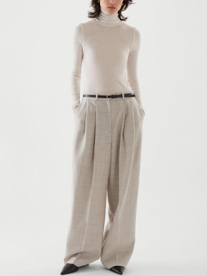 COS Pleated Wide Leg Wool Trousers