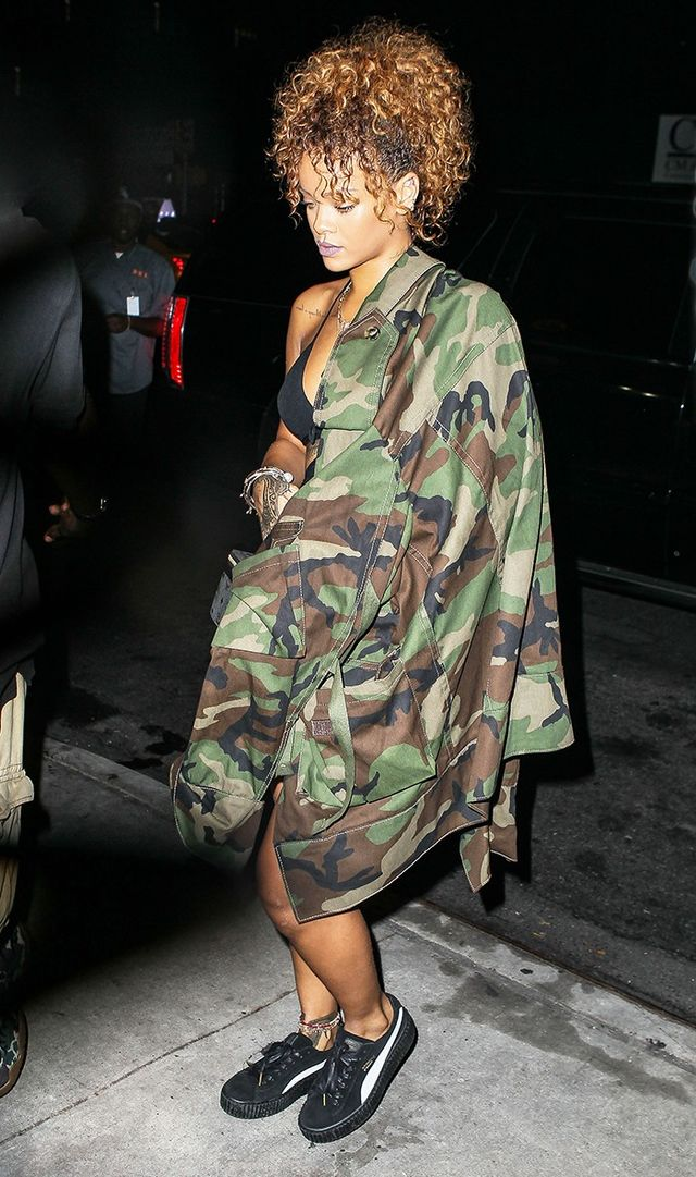 Rihanna wearing a camo jacket.