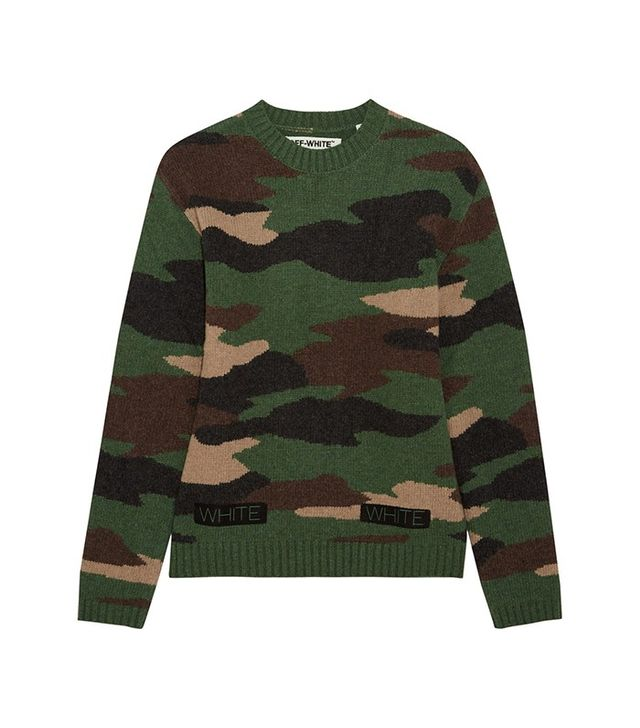 Off-White Oversized Camouflage-Intarsia Wool Sweater